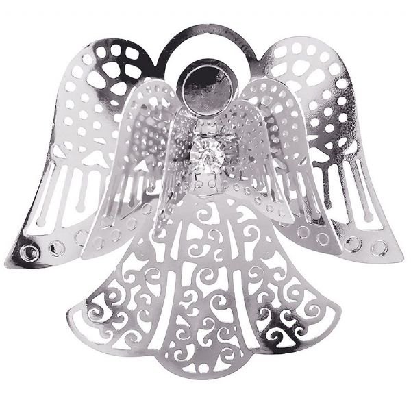 Filigree Rhodium 3D Angel w/ Crystal Centre 48x43mm